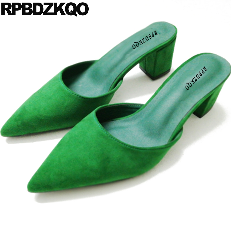 High Heels Green Suede Sandals Summer Ladies Yellow Shoes Discount Medium Size 33 Pumps 4 34 Thick Pointed Toe Mules Slipper<br>
