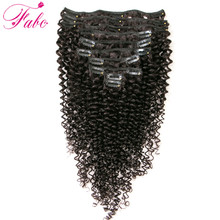 Fabc Hair Kinky Curly Hair Clip in Human Hair Extensions 120g/Set Natural Brazilian Remy 4B 4C Clip In Hair Extensions 10pcs/Set(China)