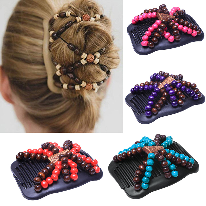 New 17Styles Double Bead Hair Comb Retro Magic Hair Clip Elastic Beads Hairpin Stretchy Hair Combs For Women Hair Accessories