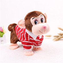 Abbyfrank Electric Plush Monkey Pet Soft Toys Musical Wear Clothes Early Educational Cute Toy For Baby Children Jouet Enfant(China)