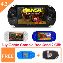 Free Shipping 8GB Handheld Game Console 4.3 Inch Portable Video Game Console build in 1200+no-repeat game for gba fc gbc smd sfc