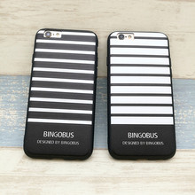 Simple Black White Stripe Bingo Bus Relief Letter Silicone Soft Phone Case For Iphone 6 6s 6 plus Cases Back Cover Capa Fundas