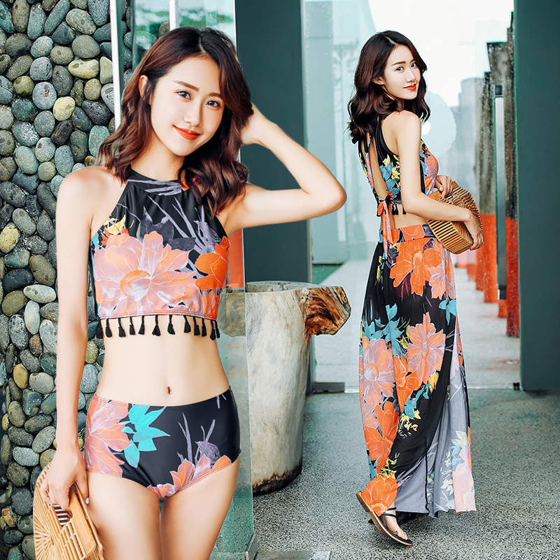 Sexy Print Sunscreen Jumpsu cover-ups 2018 new women High Neck swimwear Push Up three piece swimsuit holiday women bathing suits<br>