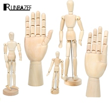 RUNBAZEF Model Decoration Wooden Dolls Joint Hand Home Accessories Miniature Kawaii Craft