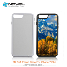 Blank 2D 2in1 case,diy cell phone case for iPhone7 plus/iPhone8 plus(China)