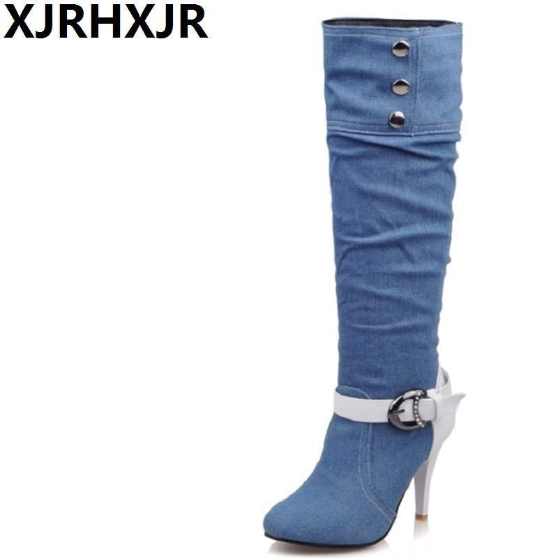 XJRHXJR Plus Size 34-43 Pointed Toe Women Spring Autumn Winter High Heels Denim Knee High Boots Lady New Fashion Jean Long Boots<br>