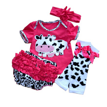 Cute Cow Newborn Baby Girl Tutu Sets Bodysuits Ruffle Bloomers Leg Warmers Headband 4 PCS Tutu Set Infant Clothing Toddler Tutus(China)