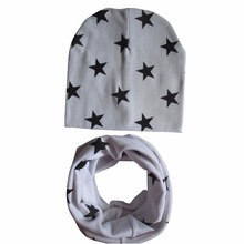 Autumn Cotton Baby Hat Scarf Set Fashion Boys Girls Hat+Scarf Sets Kids Infant Hats Child Baby Star Printed Cap Xmas