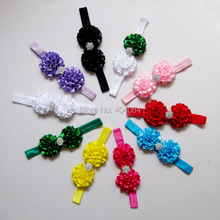 NEW Satin flower headbands   headband  for Photography props  kids hair accessories 10color stock 50pcs/lot