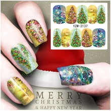 Water sticker for nails art all decorations sliders Christmas decoration tree light adhesive design decal manicure lacquer foil(China)