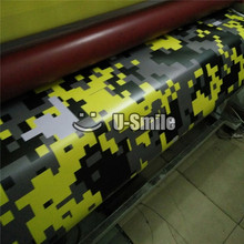 Yellow Digital Camo Vinyl Film Sheet Pixel Camouflage Wrap For TRUCK SUV Sticker Bubble Free Size1.52*30M/Roll