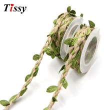 2m DIY Artificial Leaves Twine String With Leaf Silk Leaves Flower Garlands Home Garden/Wedding Party Decoration Fake Flowers(China)