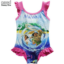 Sunny eva Moana girls bathing suits One-piece swimsuit News to sell 2017 girl bikini kids swimwear sleeveless bathing suits(China)