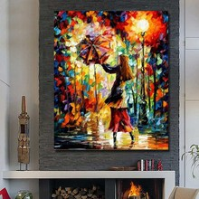 Hand made Oil Painting Beautiful Girl Under the Umbrella  Knife Painting  Wall  Pictures for   Living Room Decor  No Framed