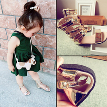 2017 Summer Gold and Black Baby Girls Gladiator Sandals High Length Rome Shoes for Kids Soft Beach Shoes Children's Summer Boots