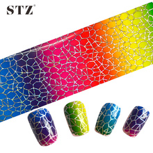 STZ 100x4cm Glitter DIY Nails Transfer Polish Glue Decorations Nail Foils Nail Art Laser Flower Designs Adhesive Sticker STZXK22