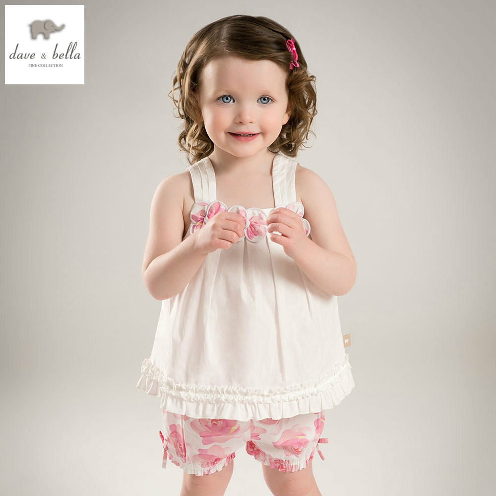 DB4945 dave bella summer baby girls camellia printed clothing sets kids lovely sets toddle cloth kids sets baby fancy clothes<br>