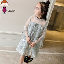 LILIGIRL Girl Princess Party Dress Transparent Fashion Children's Clothing 2017 New Brand Wedding Lace Dress 3 - 12 Years(China)
