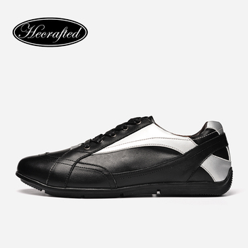 Véritable cuir Hommes chaussures 38 ~ 47 Hecrafted 2017 grain De Mode en cuir hommes chaussures de sport #101