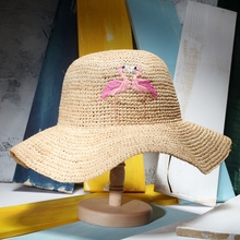 2017 Summer New Fashion Flamingo Embroidery Women Sun Hats Natural Raffia Beach Hats Chapeau Soleil Femme