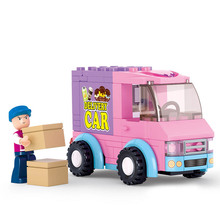 102pcs/set Pink Dream Series Truck Supermarket Distribution Vehicles Car Building Blocks Brick Toys hobbies Education Kid Gift