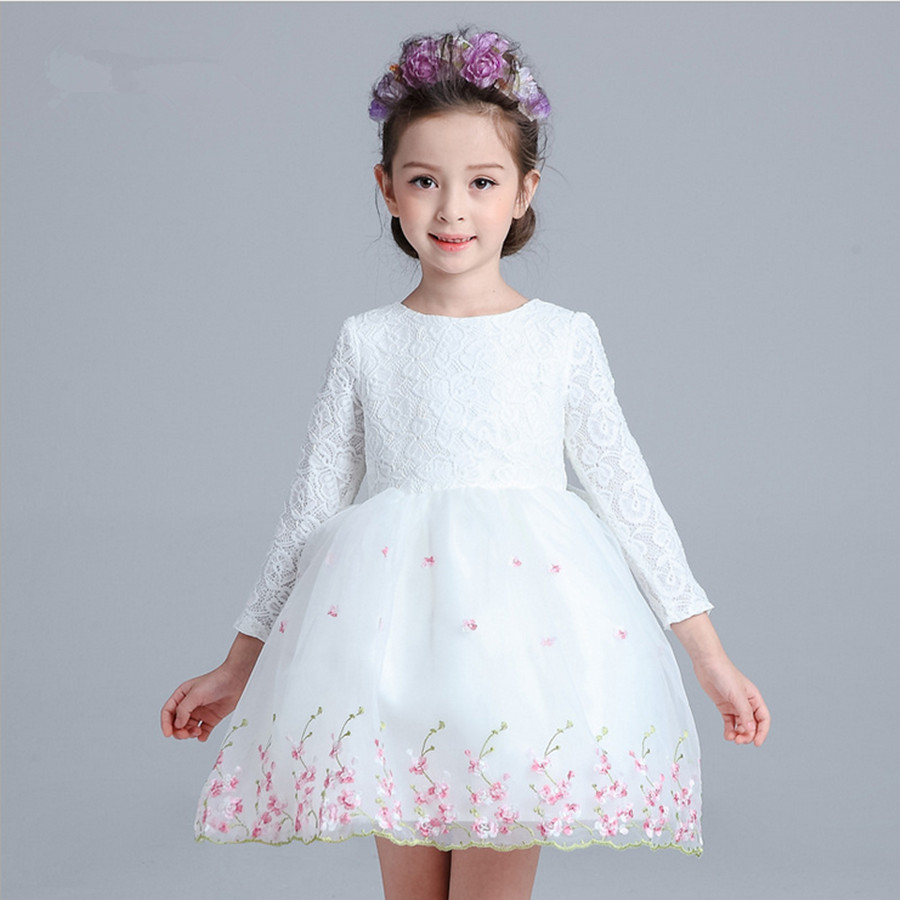 110-160 2015 Flower Girl Tutu Dress fashion O-neck long sleeve big bow embroidered princess children dresses white pink<br>