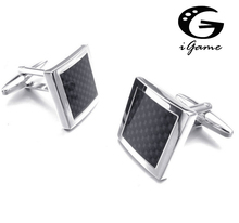 Free shipping Designer Cufflinks black color  carbon fiber design hotsale copper material cufflinks whoelsale&retail