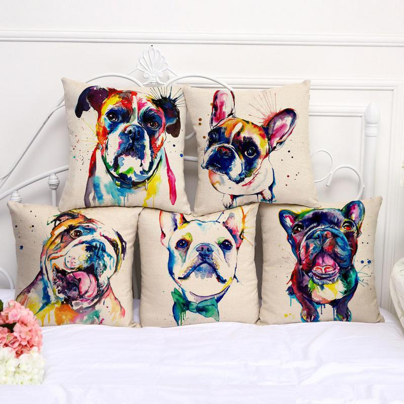 Factory Direct Supply French Bulldog Painting Series Cotton Linen Throw Pillow Home Room Decor Bedside Back Cushion(China)