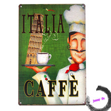 Retro Italia Caffe French Cafe Rustic Tin Sign Room Coffee shop Wall Decor left E37