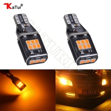 2pcs 12V-24V Canbus 921 912 T15 No Polarity T16 Bulb Light Parking Backup Reverse Led Lamps Auto No Error Lighting Amber/Orange