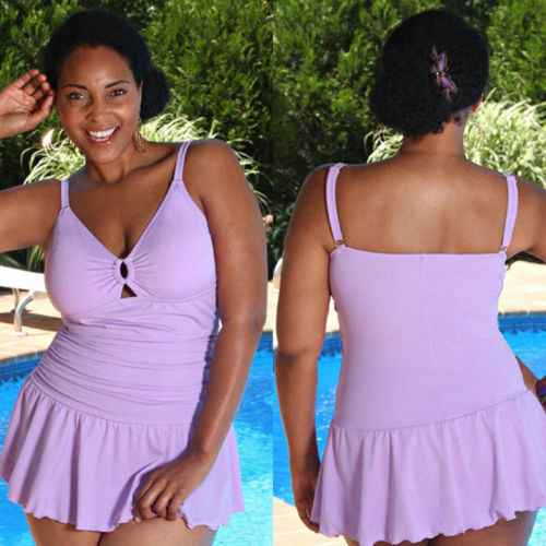 US-Seller-PLUS-SIZE-Women-One-Piece-Swimsuit-Push-Up-Bikini-Swimwear-Swimdress