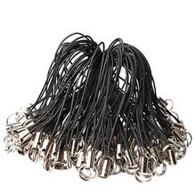 100 Pcs Black DIY Jewelry Mobile Cell Phone Lanyard Cord Strap with Ring Charms Crystal Badge Pendant Decoration Accessories