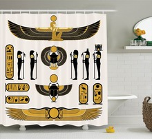 Shower Curtain Old Historical Egyptian Myth Icons Sun Art Printing Waterproof Mildewproof Polyester Fabric Bath Curtain Set