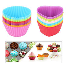 12PC/Lot Silicone Cupcake Liner Holders Cup Muffin Dessert Baking Chocolate Mold