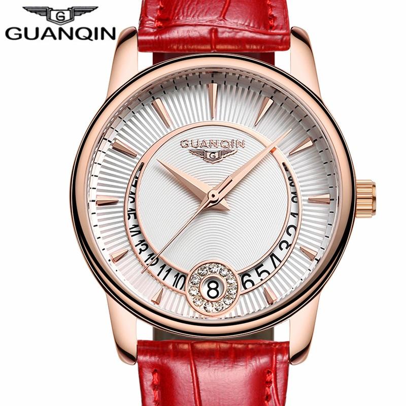 GUANQIN Women Watch Fashion Casual Quartz Women Watches Bracelet Watch Ladies Leather Luxury Jewelry Watches relogio feminino<br>