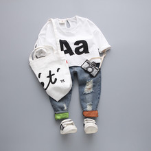 2017 fashion children clothes  girls boys unisex white Letter pattern T-shirt ripped Jeans kids clothing
