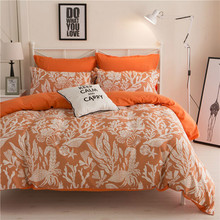 2017 new polyester cotton cartoon orange blue queen single bed double bed full set of 4 feet, 5 feet, 6 feet, 6.6 feet bed set