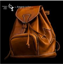 2017 Genuine Leather Handmade Backpack Ladies Shoulder Bag women's Bags Retro art Trend Leisure First Tier College Wind Backpack(China)