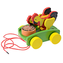 Wooden Cock Peck Rice Pull Car Toy for Children Baby Kids Early Walking Educational Toy Vehicles Baby Animal Toy Funny DIY Toy