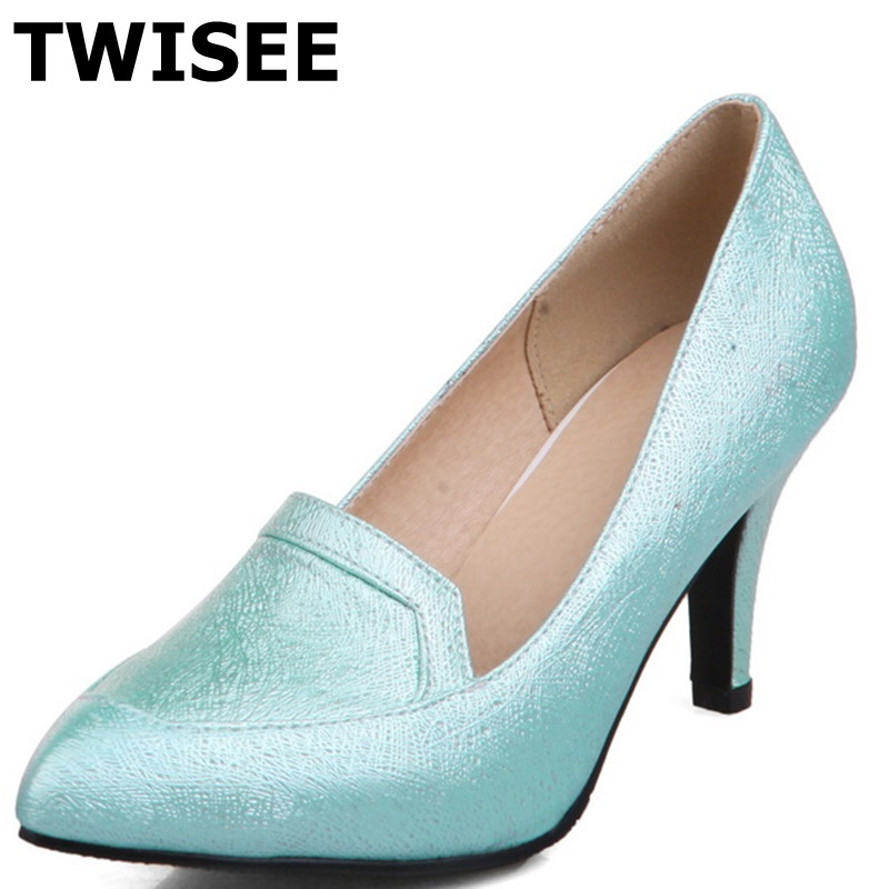 Pointed Toe chaussure femme women high heels shoes Beautiful spring pumps blue pink whiter pu leather Rubber woman wedding shoes<br><br>Aliexpress
