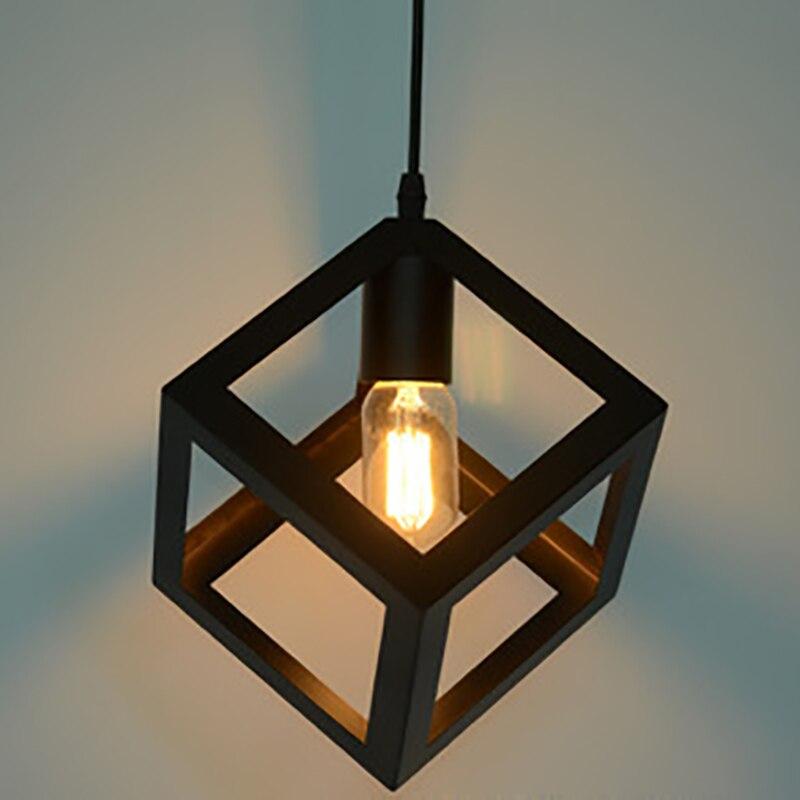 modern art deco square iron Pendant Lamp Lights Loft Vintage Restaurant Master Bedroom Dining room cafe bar office Parlor Study<br>