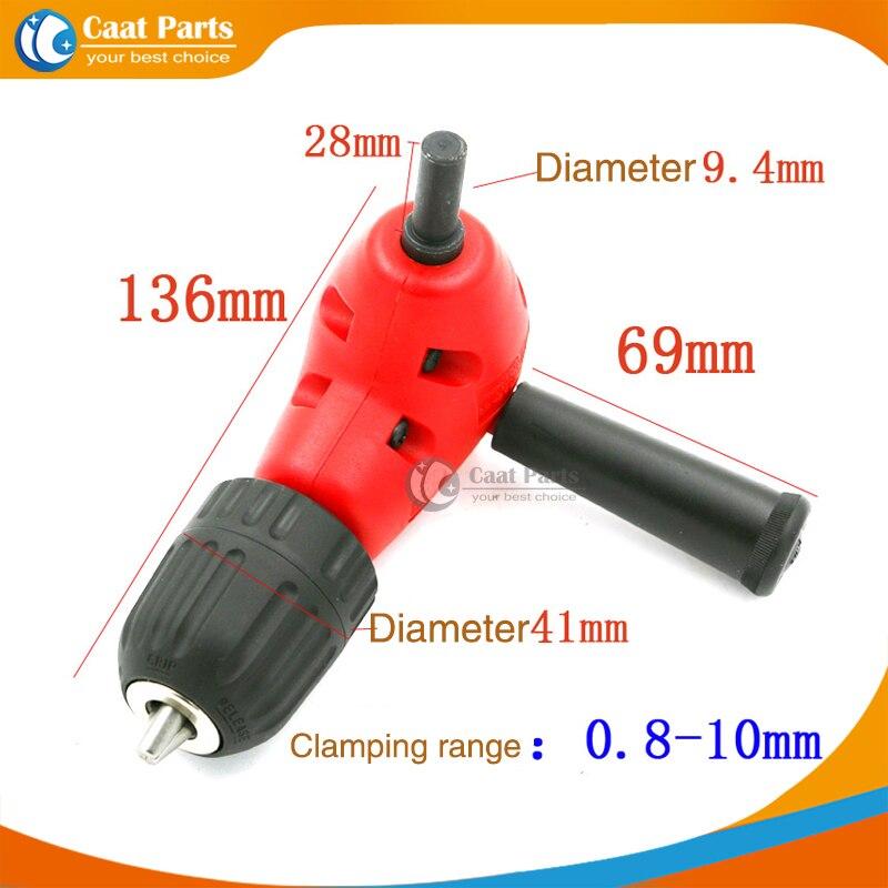 Free shipping! 3/8-24UNF Right Angle Drill Attachment 90 Degree Handle Adaptor Corner Chuck Clamping range 0.8-10mm<br>