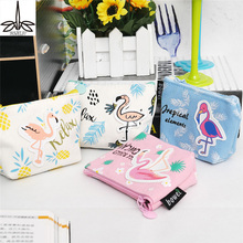 Multi Use Pencil bags Women Purses Cartoon Bird Flamingo Trapezoid Coin Wallet High Performance Price Ratio Card Bag(China)
