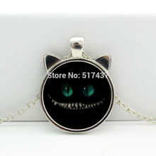 2017 New hot New Cheshire Cat Necklace Cheshire Cat Jewelry Cat Ear Pendant Glass Photo Cabochon Necklace CN-0068