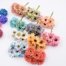 6pcs Silk Forest Style Daisy Artificial Flower Bouquet For Wedding Party Decoration DIY Gift Box Accessories Rose Fake Flowers
