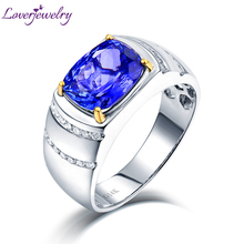 Luxury Natural Blue Tanzanite Wedding Men Rings Loving Diamond Engagement Jewelry Real Solid 14K Two-tone Gold for Husband Gift(China)