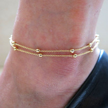 Korean version of the jewelry foot soles double chain chain bead anklet wholesale Foot Jewelry Multilayer Anklet
