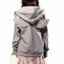2016 New Autumn Hooded Causal Full sleeve Fleece Cadigan Plus size M-XXL Black Gray Tracksuit Women Hit 3D Angle Wings Hoodies