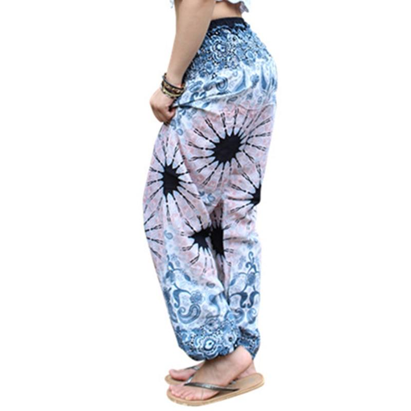 2018 Women Boho Baggy Hippie Long Pants Female Harem Loose Printed Soft Elastic High Waist Bottom Indie Folk Trousers Gypsy New
