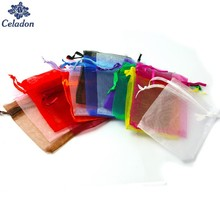 New Arrival 10PCS Multi Colors Jewelry Packaging Transparent Gauze Bag Casamento 9x12cm korah Wedding Gift Bags Organza Pouch(China)